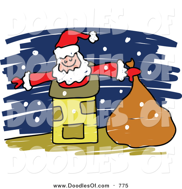 Vector Clipart of a Doodle of Santa in a Chimney