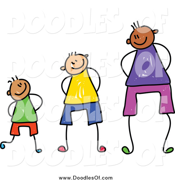 Vector Clipart of a Doodle of Three Boys at Different Heights