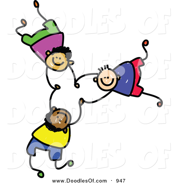 Vector Clipart of a Doodle of Three Boys Falling and Holding Hands