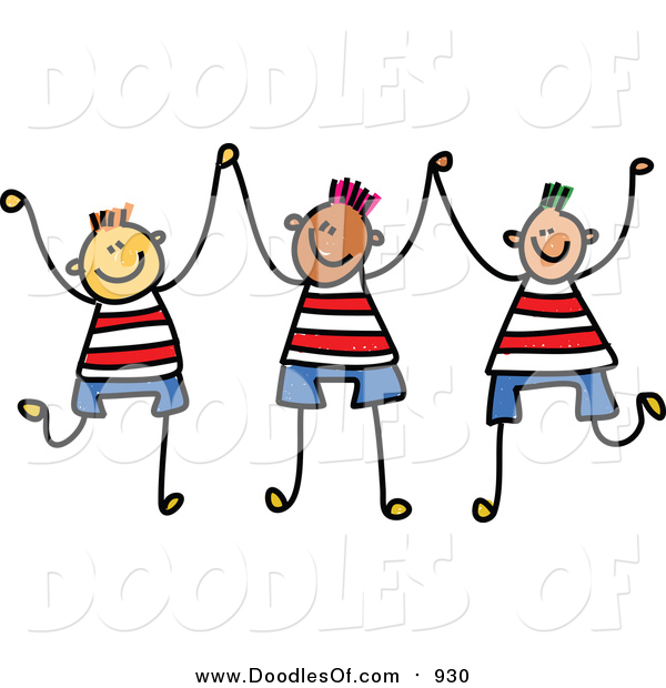 Vector Clipart of a Doodle of Three Boys Holding up Their Hands
