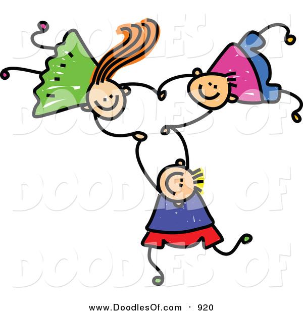 Vector Clipart of a Doodle of Three Kids Holding Hands While Falling