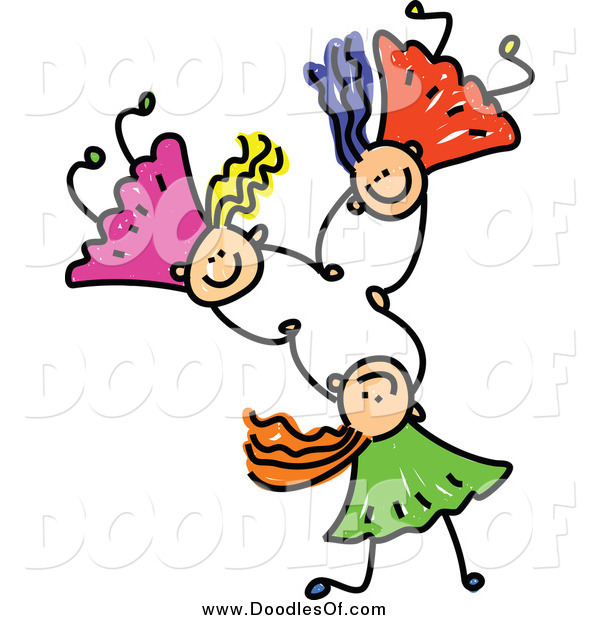 Vector Clipart of a Doodle of Three White Girls Holding Hands While Falling