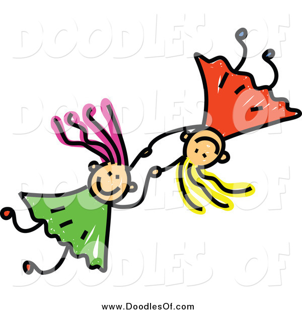 Vector Clipart of a Doodle of Two Girls Holding Hands and Falling