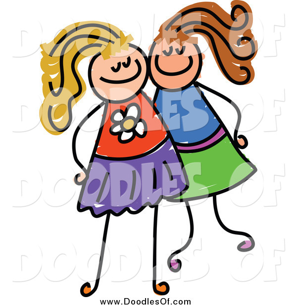 Vector Clipart of a Doodle of Two White Girls Posing Together