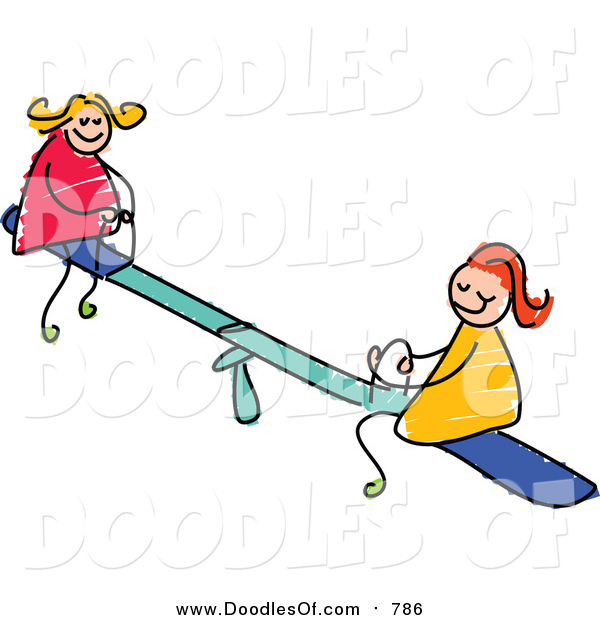 Vector Clipart of a Doodle of White Girls Playing on a Teeter Totter