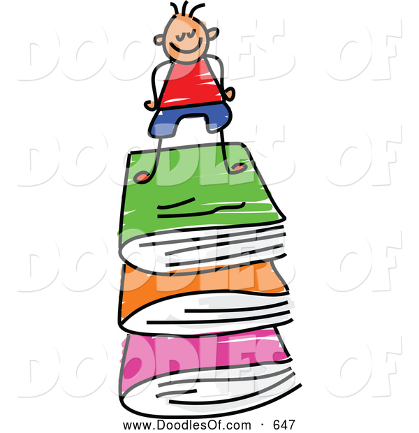 Vector Clipart of a Doodle Stick Boy on a Stack of Books