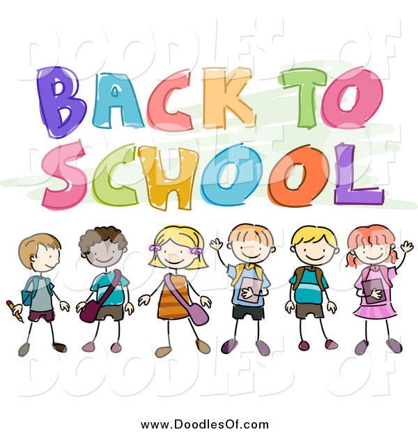 Vector Clipart of a Doodled Back to School Greeting with Kids