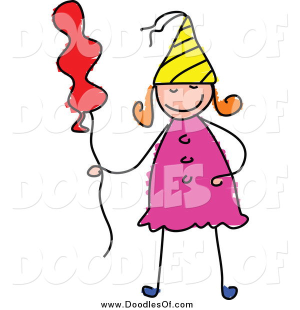 Vector Clipart of a Doodled Birthday Girl with a Balloon