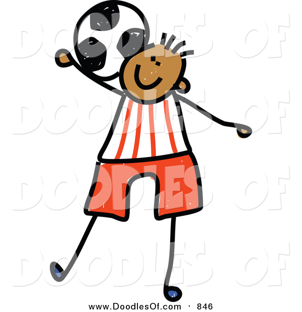 Vector Clipart of a Doodled Black Boy Playing Soccer