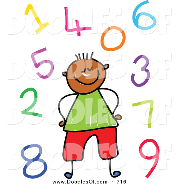 Vector Clipart of a Doodled Black Boy Surrounded by Colorful Numbers