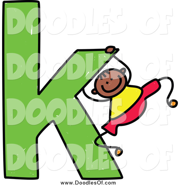 Vector Clipart of a Doodled Black Boy Swinging on a Lowercase Letter K