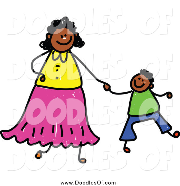 Vector Clipart of a Doodled Black Mother Holding Hands with Her Son