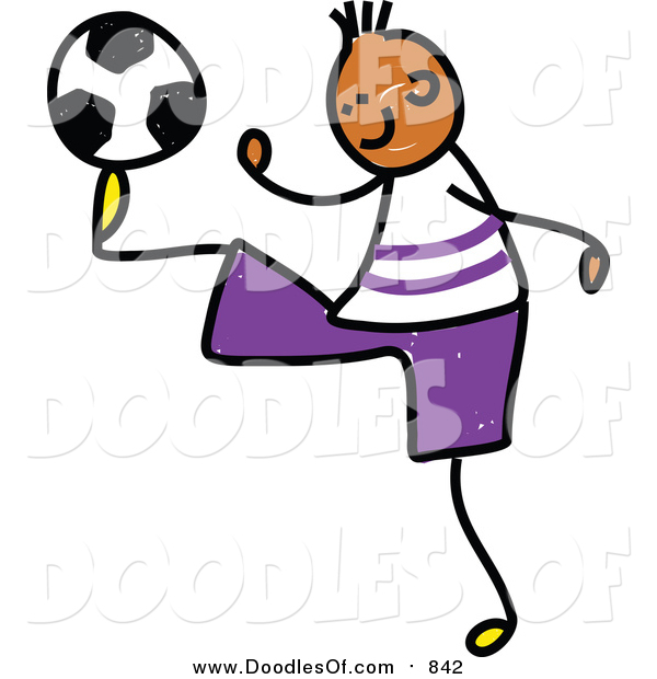 Vector Clipart of a Doodled Black Soccer Boy Kicking