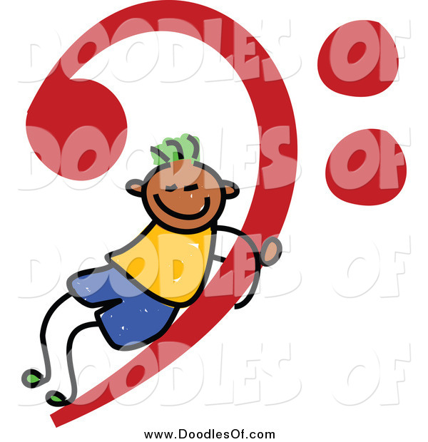 Vector Clipart of a Doodled Black Stick Boy on a Red Music Base Clef