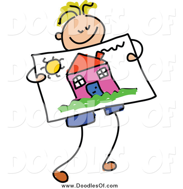 Vector Clipart of a Doodled Blond Boy Holding a Picture of a House