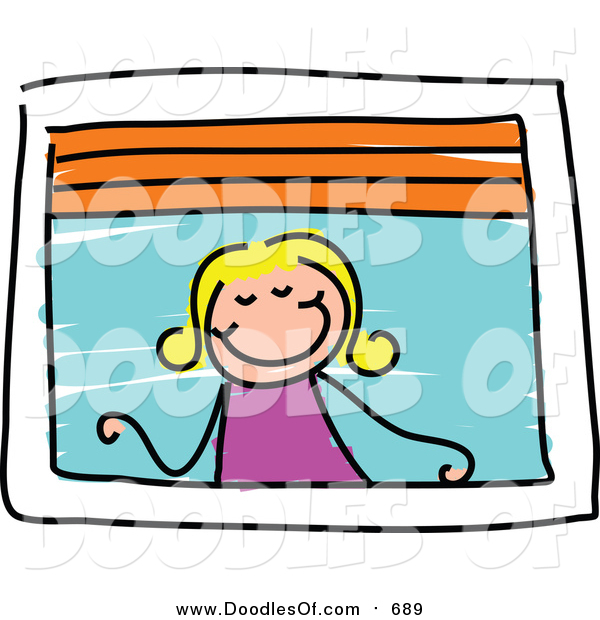 Vector Clipart of a Doodled Blond Girl Looking out a Window