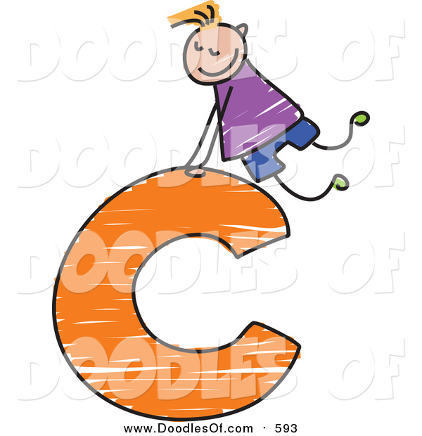 Vector Clipart of a Doodled Blond Haired White Boy on a Lowercase Letter C