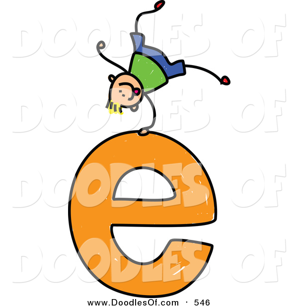 Vector Clipart of a Doodled Blond White Boy Cartwheeling on a Lowercase Letter E
