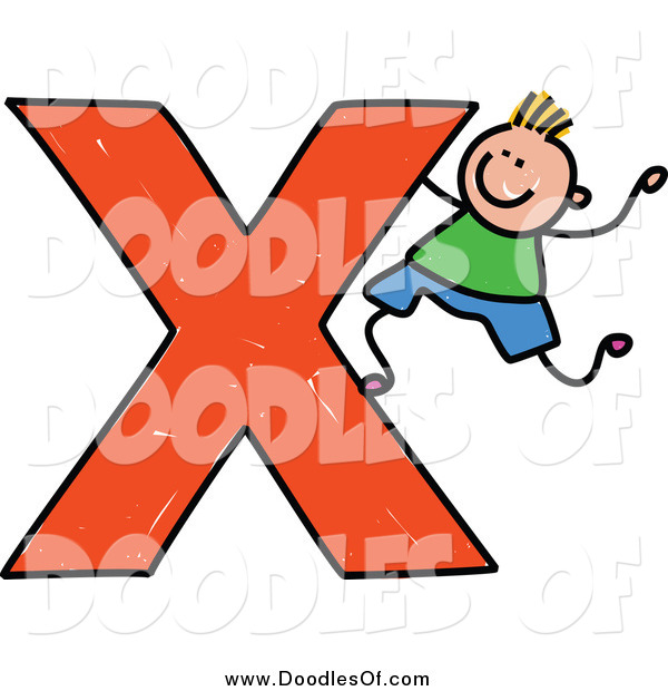 Vector Clipart of a Doodled Blond White Boy Climbing on a Capital Letter X