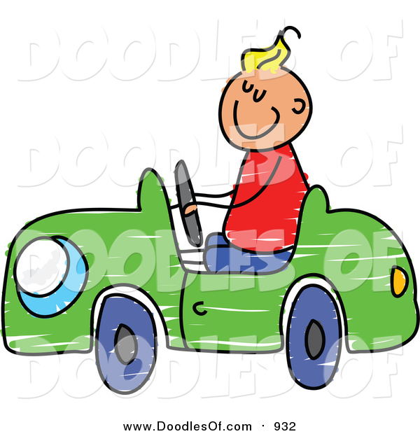 Vector Clipart of a Doodled Blond White Boy Driving a Toy Car