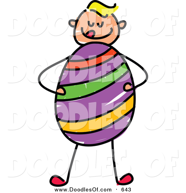 Vector Clipart of a Doodled Blond White Boy Holding a Huge Easter Egg