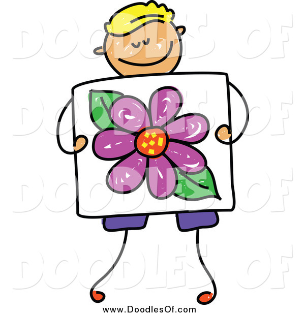 Vector Clipart of a Doodled Blond White Boy Holding a Picture of a Flower
