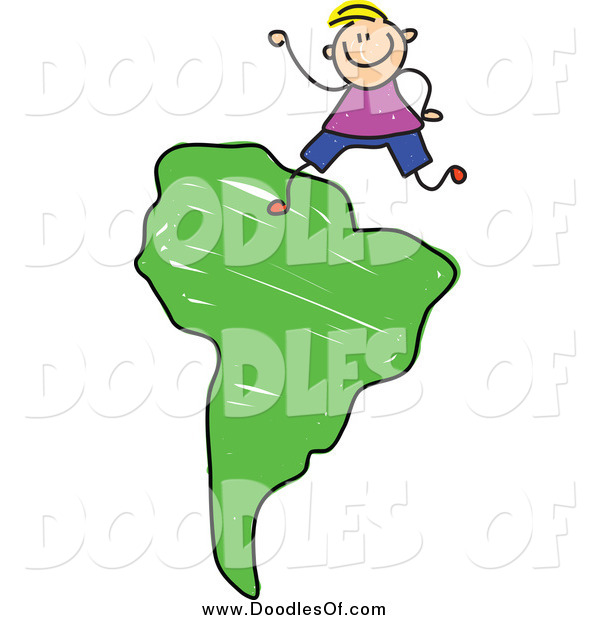 Vector Clipart of a Doodled Blond White Boy on a Green South Africa Map