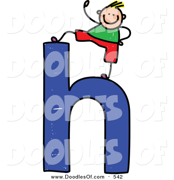 Vector Clipart of a Doodled Blond White Boy on a Lowercase Letter H