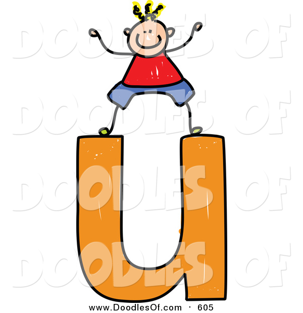 Vector Clipart of a Doodled Blond White Boy on a Lowercase Letter U