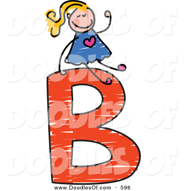Vector Clipart of a Doodled Blond White Girl on a Capital Letter B