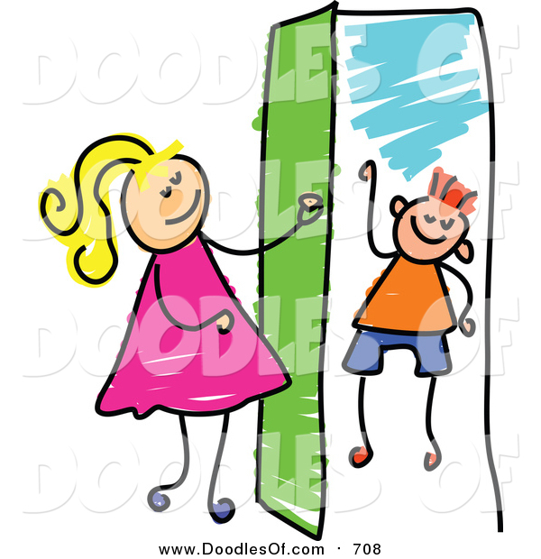 Vector Clipart of a Doodled Blond White Girl Opening a Door to a Boy