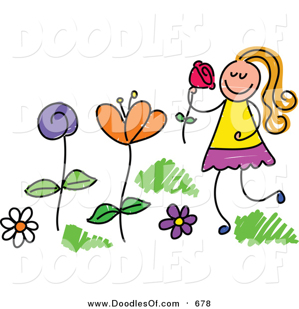 Vector Clipart of a Doodled Blond White Girl Picking and Smelling Flowers in a Garden