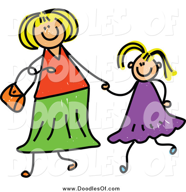 Vector Clipart of a Doodled Blond White Mother Holding Hand with Her Blond Daughter