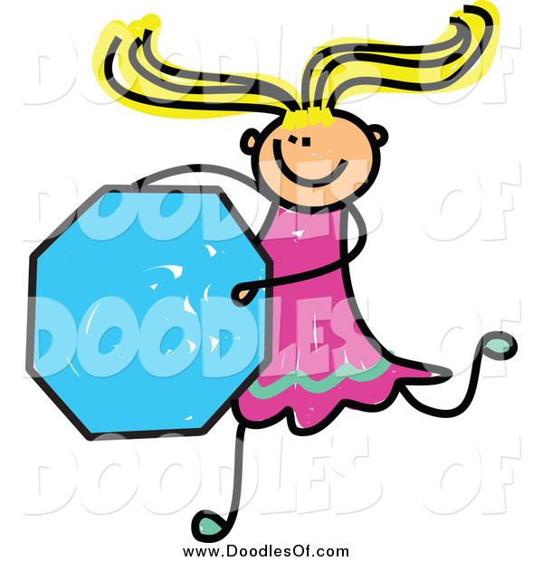 Vector Clipart of a Doodled Blond White Stick Girl Holding an Octagon