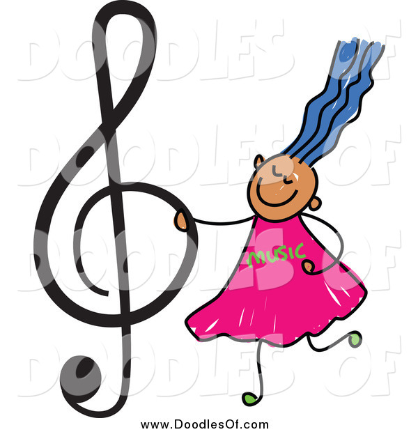 Vector Clipart of a Doodled Blue Haired Music Girl Holding a Treble Clef
