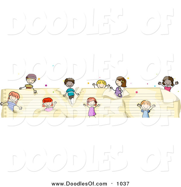 Vector Clipart of a Doodled Border of Kids on Ruled Paper