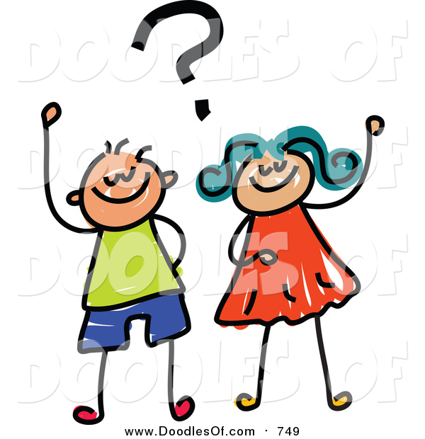 Vector Clipart of a Doodled Boy and Girl with a Question