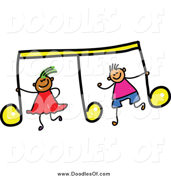 Vector Clipart of a Doodled Boy and Girl with a Yellow Music Note
