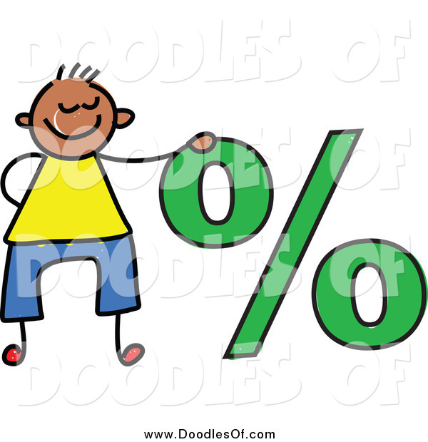 Vector Clipart of a Doodled Boy by a Percentage Symbol
