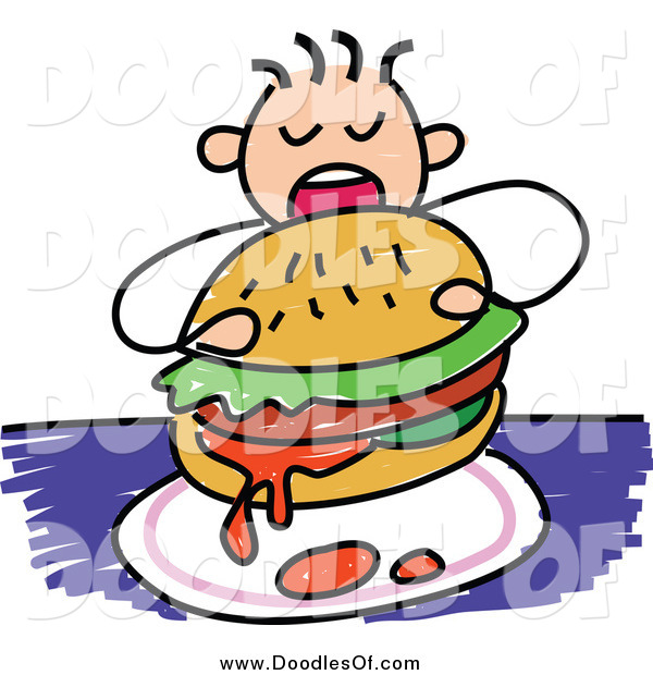 Vector Clipart of a Doodled Boy Eating a Messy Burger