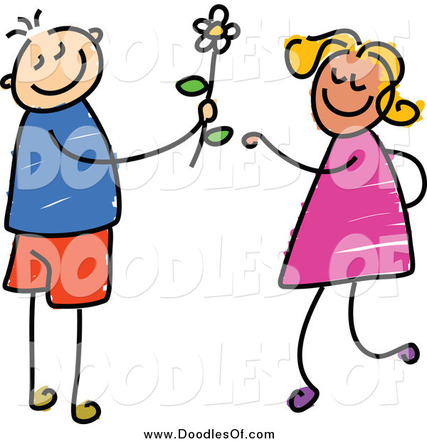 Vector Clipart of a Doodled Boy Giving a Daisy to a Girl