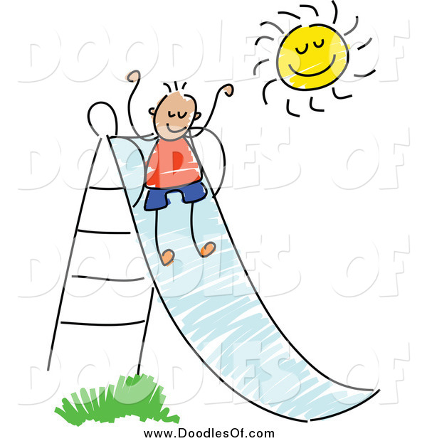 Vector Clipart of a Doodled Boy Going down a Slide