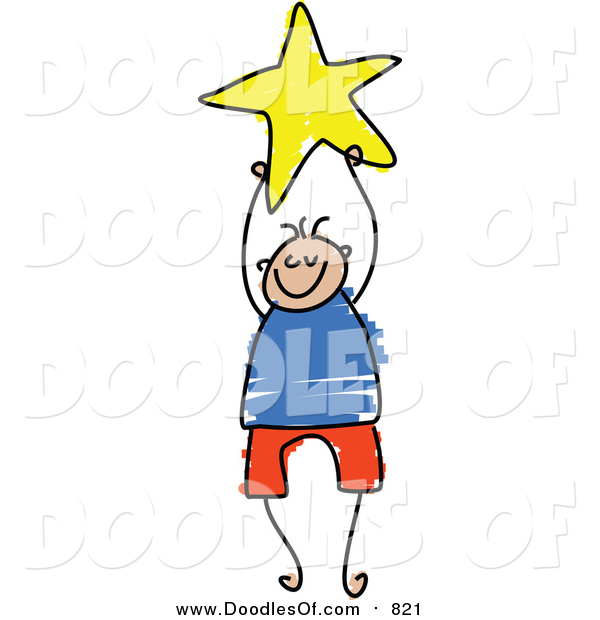 Vector Clipart of a Doodled Boy Holding a Yellow Star