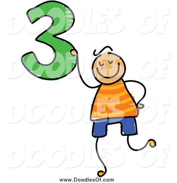 Vector Clipart of a Doodled Boy Holding the Number 3