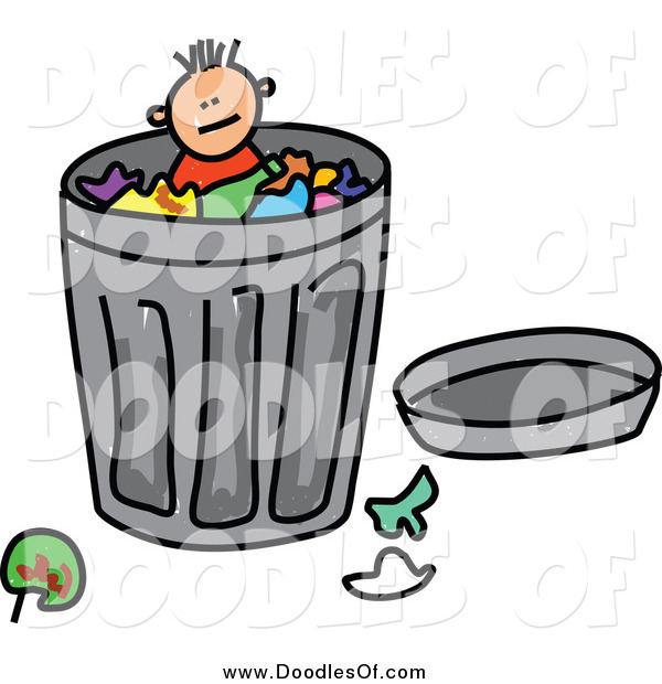 Vector Clipart of a Doodled Boy in a Trash Can