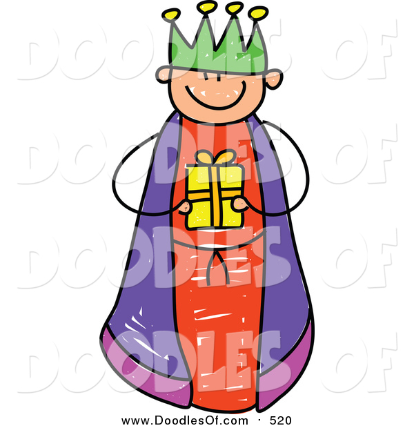 Vector Clipart of a Doodled Boy King Holding a Gift