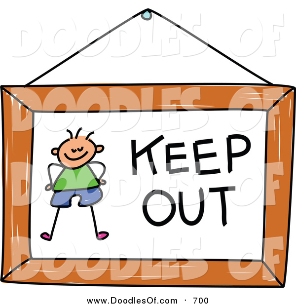 Vector Clipart of a Doodled Boy on a Keep out Sign