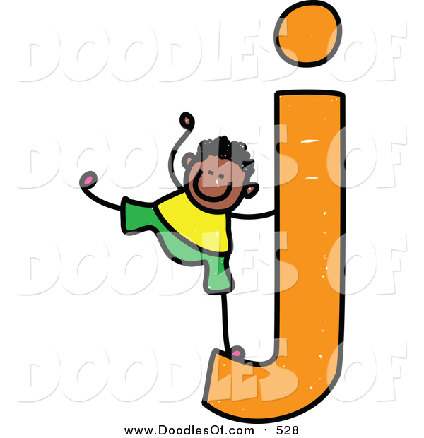 Vector Clipart of a Doodled Boy on a Lowercase Letter J