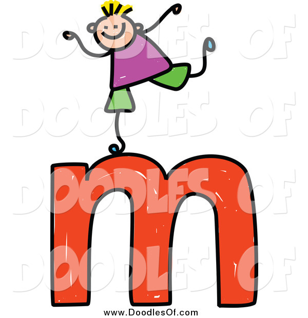 Vector Clipart of a Doodled Boy on a Lowercase Letter M
