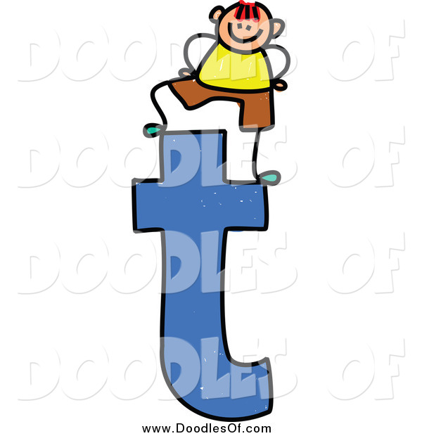 Vector Clipart of a Doodled Boy on a Lowercase Letter T